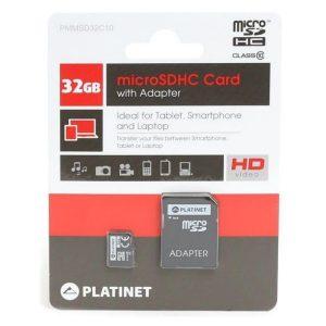 Platinet microSDHC 32GB Class 10+adapter SD